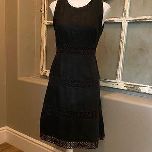 Laundry Black Linen Dress Crochet Trim 4
